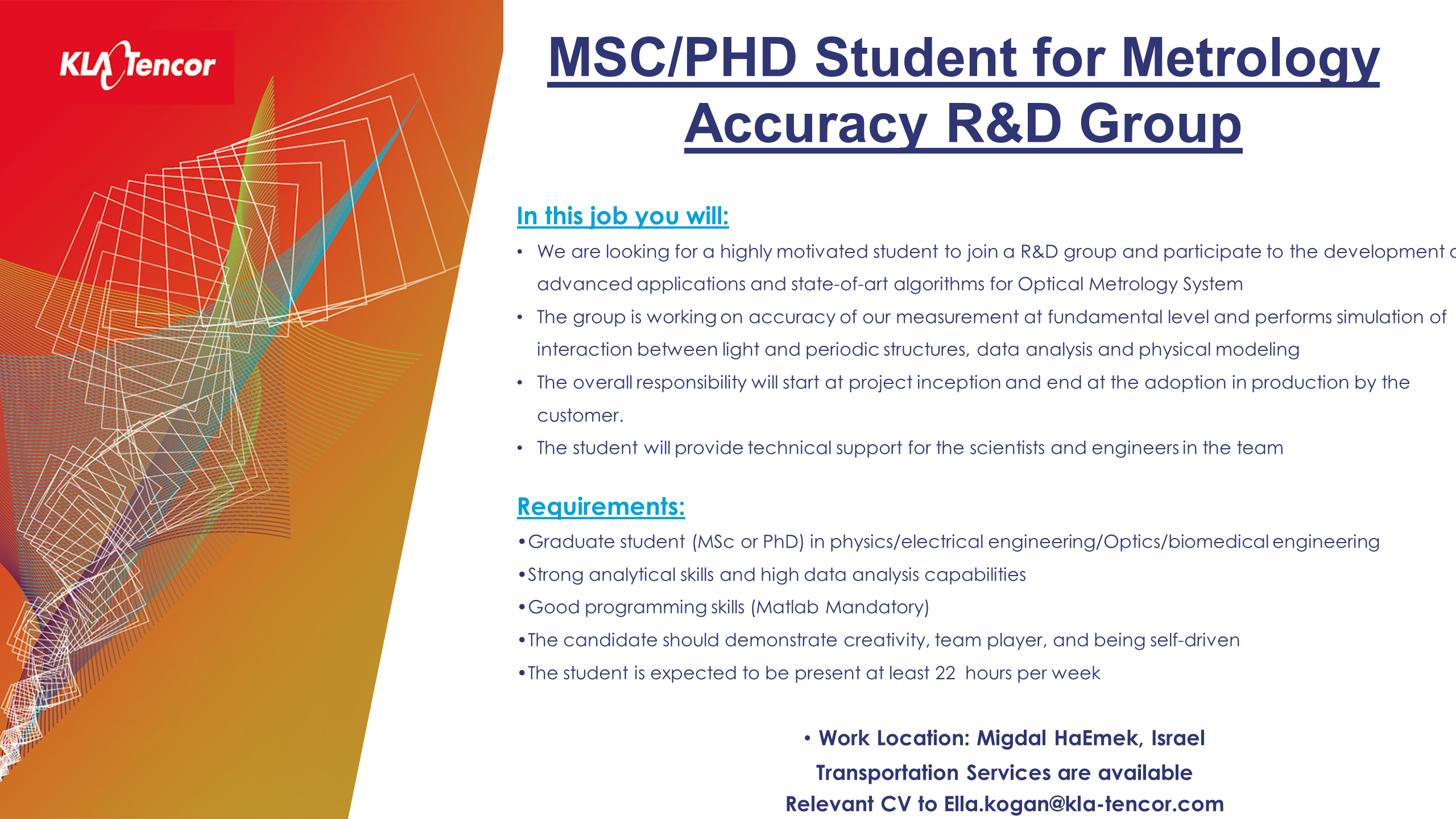 job offer ad - MSC OR PHD Student for Metrology Accuracy RD Group 25.1.18