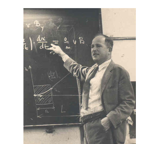 Prof. Hirsh standing in front of teaching board