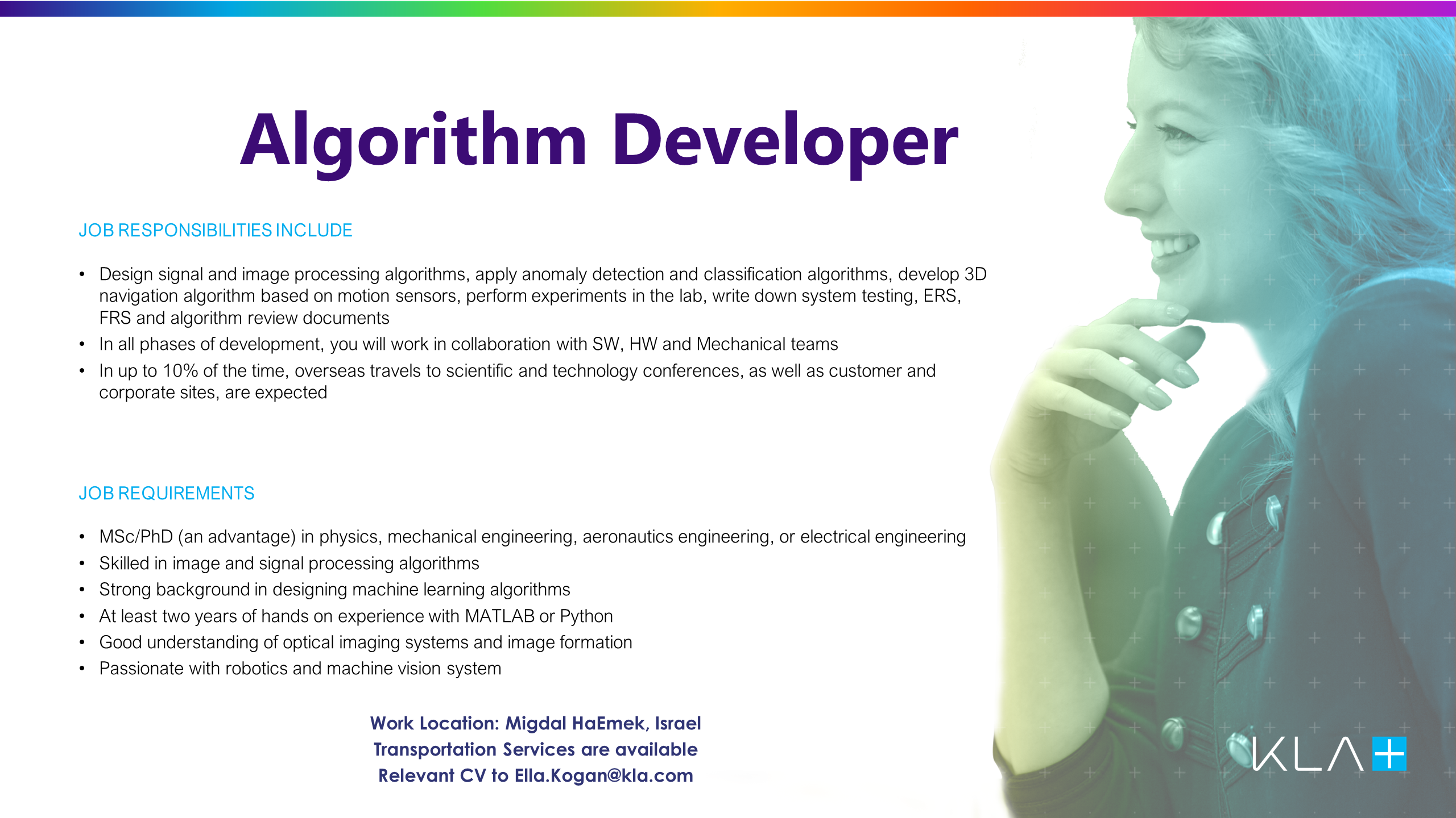Algorithm Developer KLA job offer