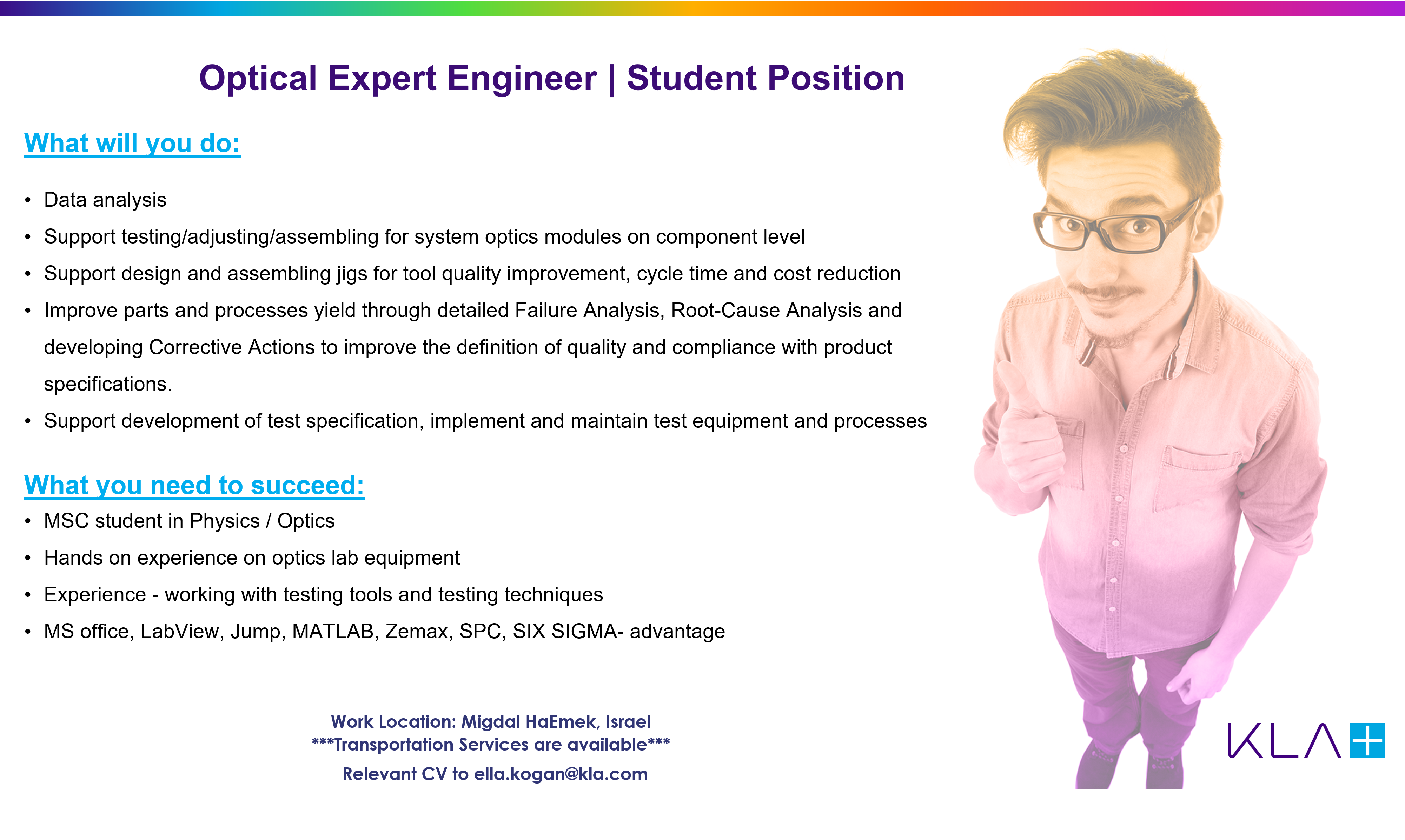 Optical Expert Engineer Student Position (opens in same window)