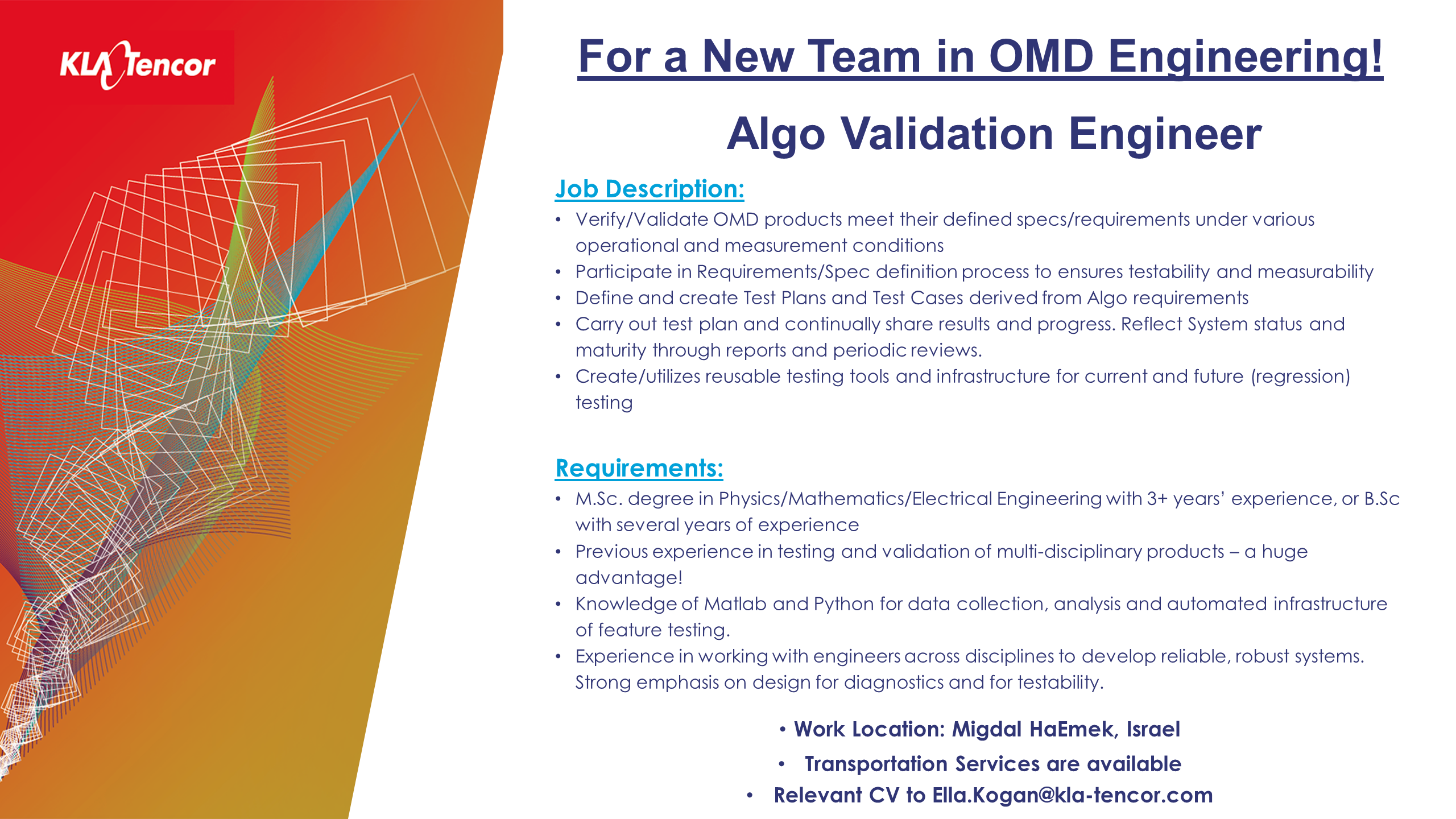 kla - algo validation engineer for a new team in omd engineering